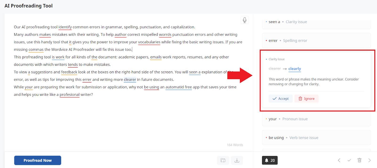 ai proofreader demo, red box highlighting feedback box