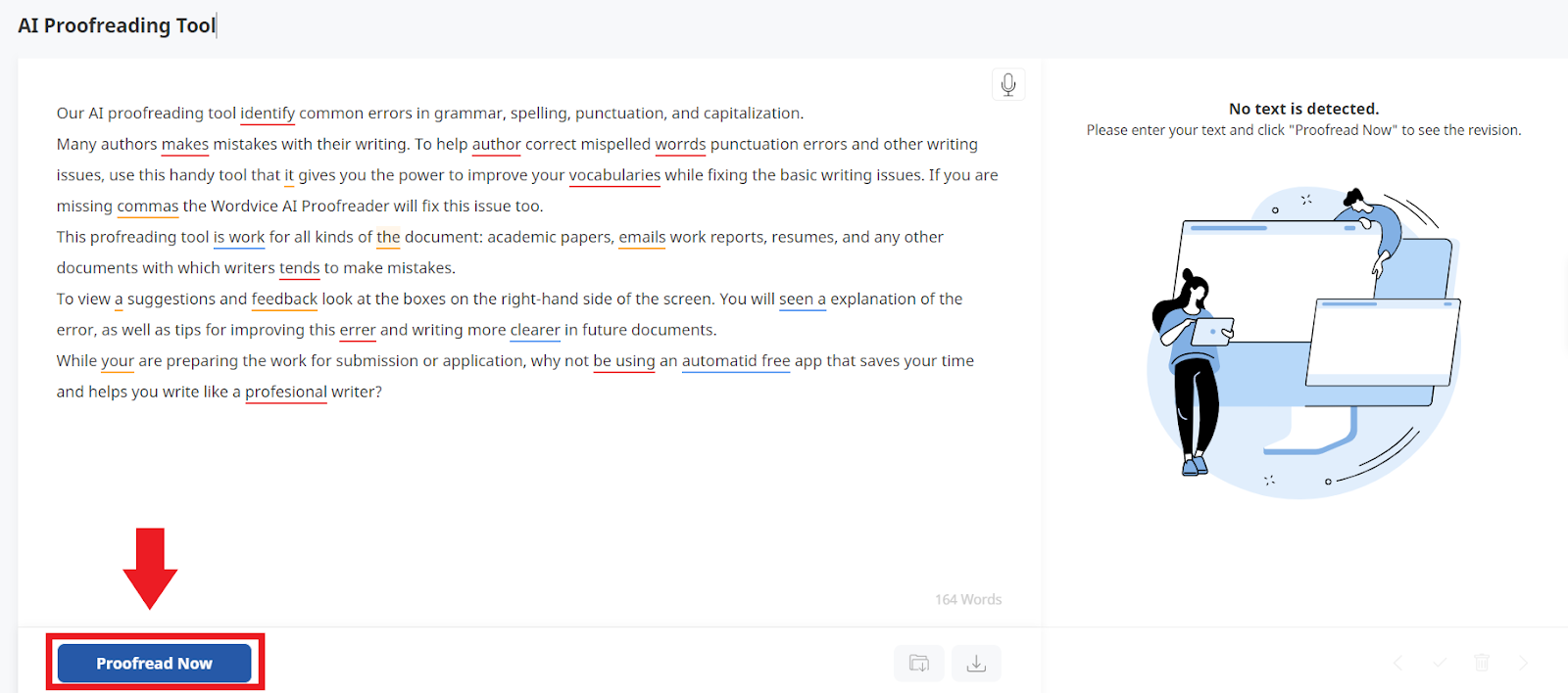 ai proofreading tool demo, red box highlighting proofread now button