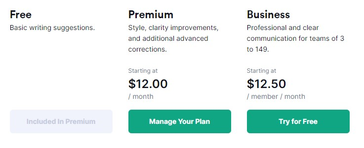 list of grammarly pricing
