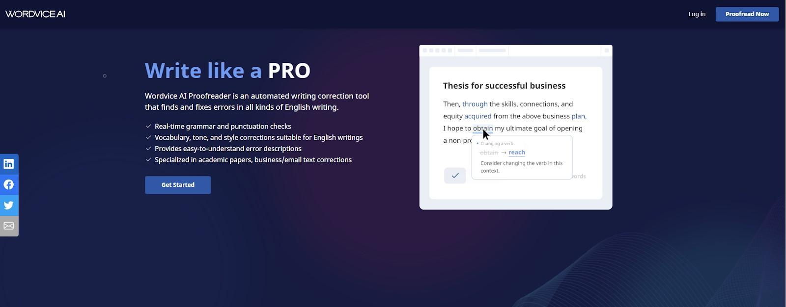 wordvice.ai main page screenshot