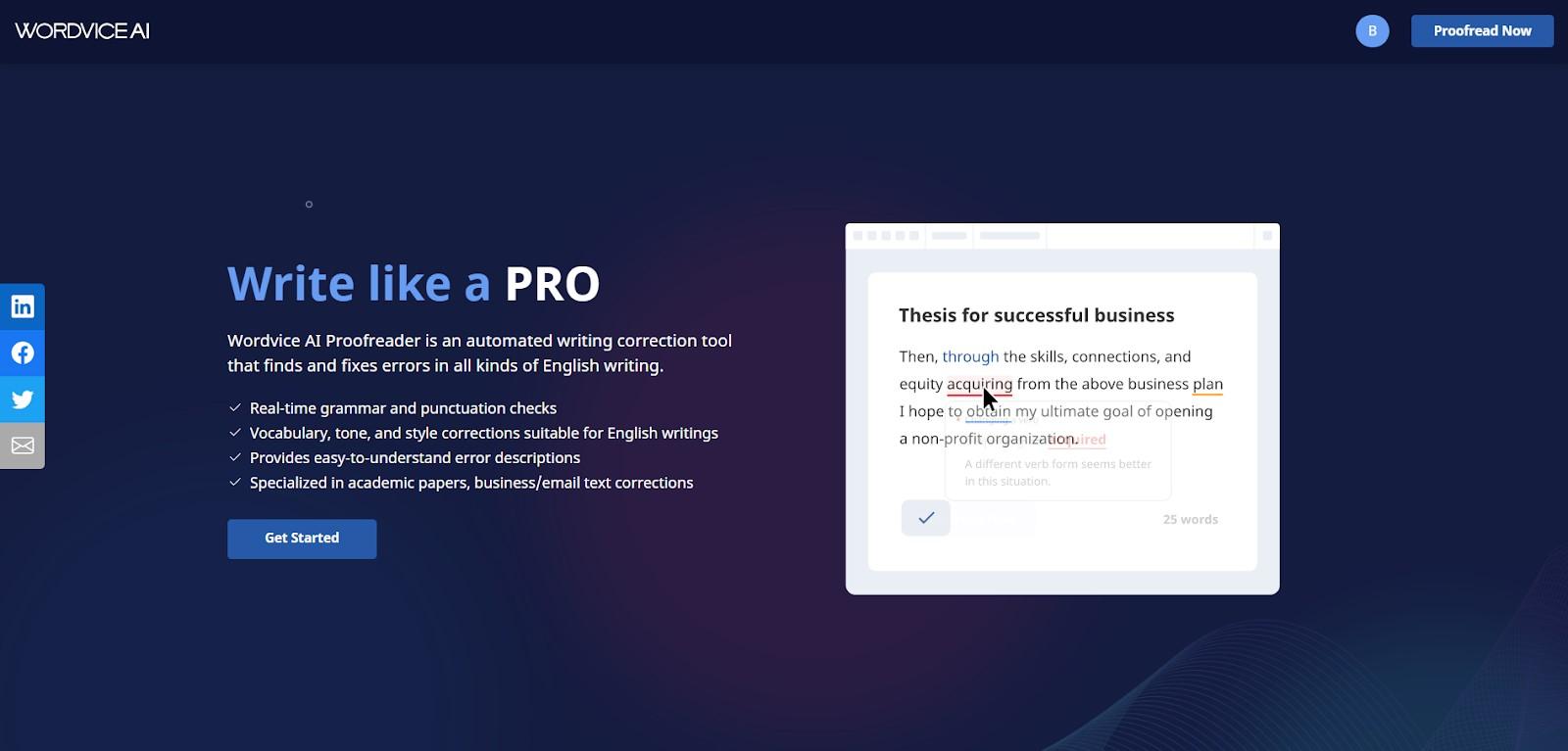 wordvice ai main page screenshot