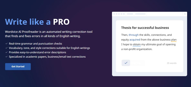 screenshot of wordvice ai homepage