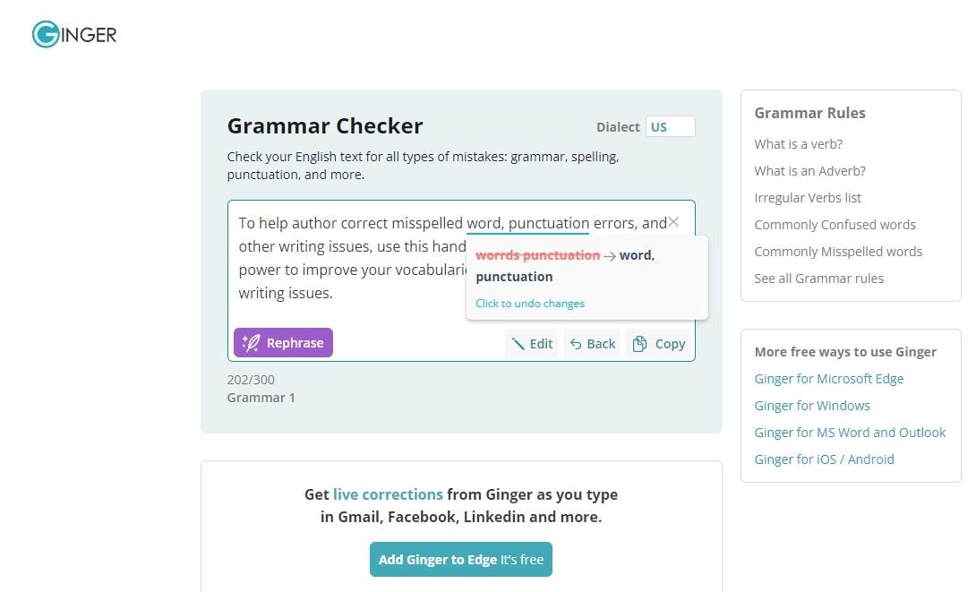 ginger spelling check